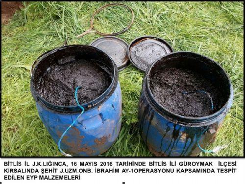 <p>  Bitlis Valiliğinden, G&uuml;roymak il&ccedil;esinde, ter&ouml;r &ouml;rg&uuml;t&uuml; PKK&#39;ya y&ouml;nelik operasyonda, arazide g&ouml;m&uuml;l&uuml; 600 kilogram el yapımı patlayıcı, 580 m&uuml;himmat ve el yapımı patlayıcı yapımında kullanılan &ccedil;ok sayıda malzeme ele ge&ccedil;irildiği bildirildi.</p>  <p>  &nbsp;</p>
