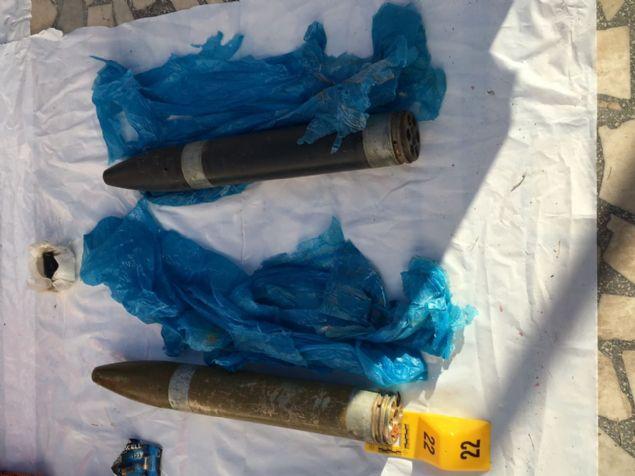 2 adet menşei tespit edelimeysen askeri mühimmat (Çoklu roket atar mühimmatı olduğu değerlendiriliyor)