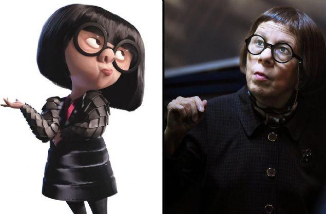 Edna Mode, İnanılmaz Aile - İnanılmaz Aile(2004)'nin moda tasarımcısı karakterlerinden Edna Mode'un görünüş itibariyle kime benzediğini tahmin etmek çok da zor değil. Adeta, NCIS: L.A diziisinden tanıdığımız Linda Hunt'ın üç boyutlu animasyon hali! Bu arada filmin yönetmeni Brad Bird'ün aynı zamanda Edna Mode'u seslendirdiğini de ekleyelim.