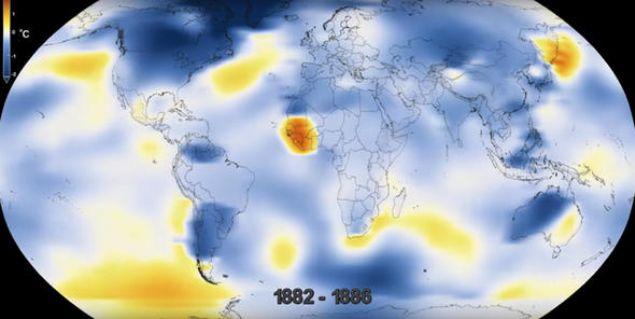 Dünya genelinde 6 bin 300'ü aşkın hava istasyonunu kullanarak 1880'den bu yana Dünya'nın sıcaklığını ölçen NASA'lı bilim insanlarının yayınladığı harita şaşkınlığa neden oldu. Bakın 100 yılı aşkın sürede Dünya ne hale geldi?
