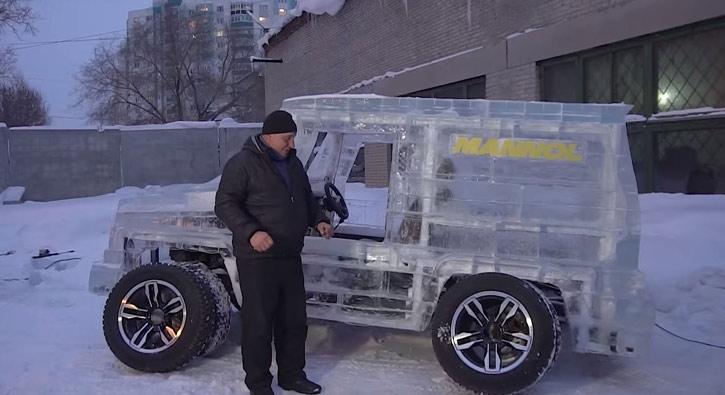 Buzdan araba yaptı