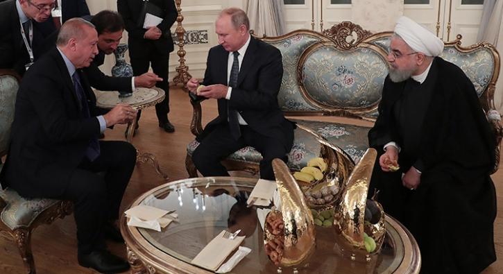 Başkan Erdoğan, Putin ve Ruhani'ye ikram etti
