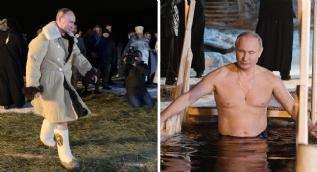 Putin buzlu göle girdi