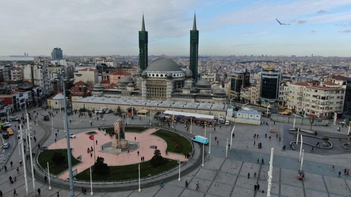 Taksim Camii'nde sona yaklaşıldı! Havadan böyle görüntülendi