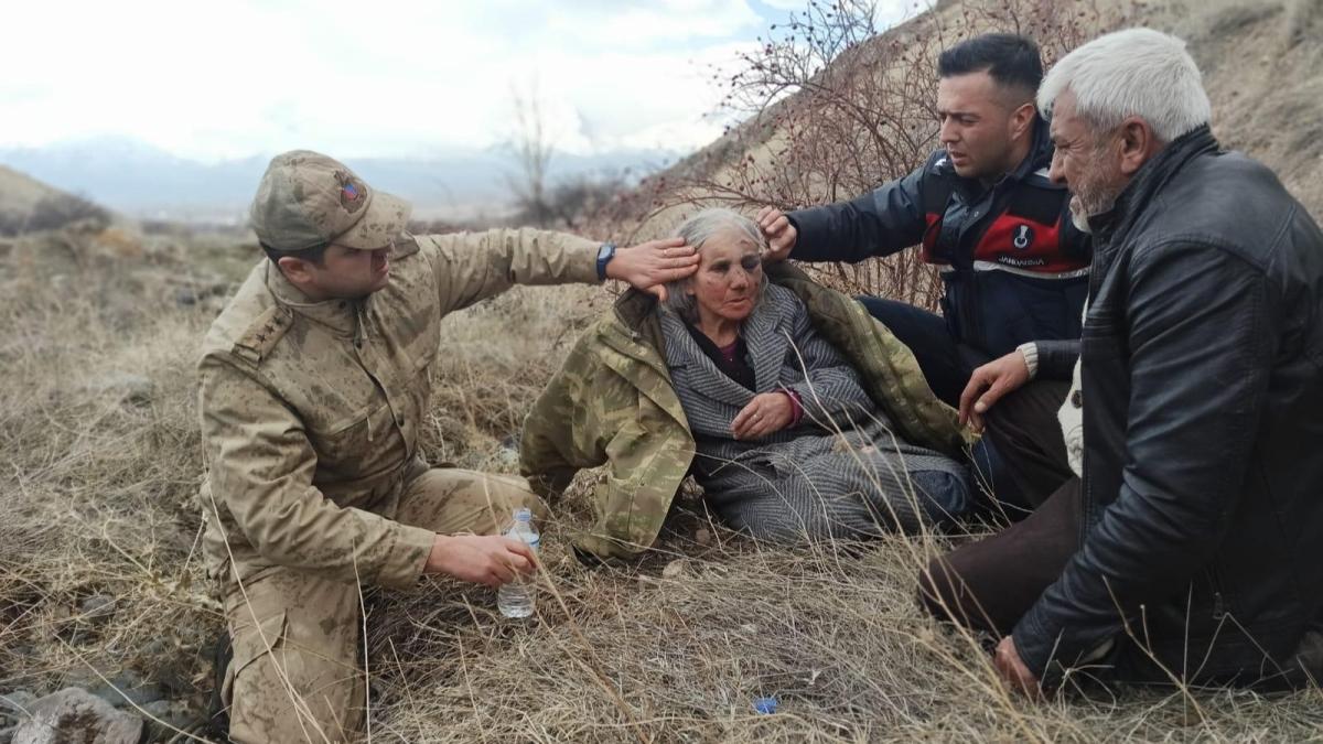Erzincan'da kayalıklara düşerek yaralanan yaşlı kadını Mehmetçik buldu