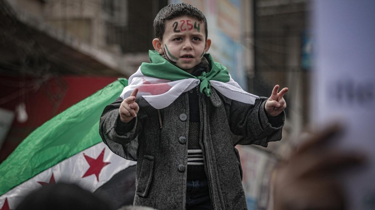 İdlib'de, Türkiye'ye destek gösterisi! 'Türk şehitleri kardeşimizdir'