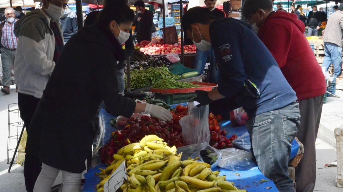 Vatandaşlar alışverişe maskeleriyle çıktı