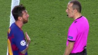 Şampiyonlar Ligi'nde maça damga vuran an! Cüneyt Çakır ve Messi arasında tartışma