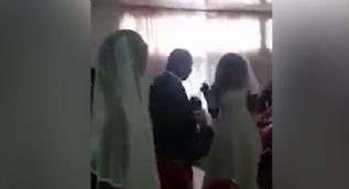 Gelinlik giyip sevgilisinin düğününü bastı
