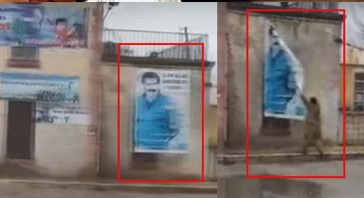 Terör elebaşının posterleri tek tek sökülüyor